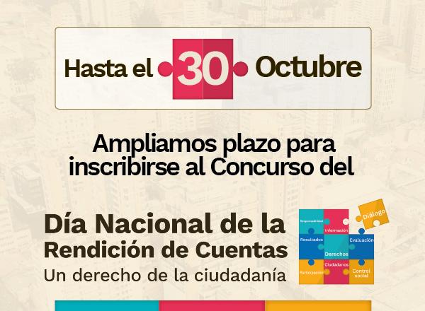 No olvides que hasta el 30 de octubre puedes participar en el concurso de rendición de cuentas
