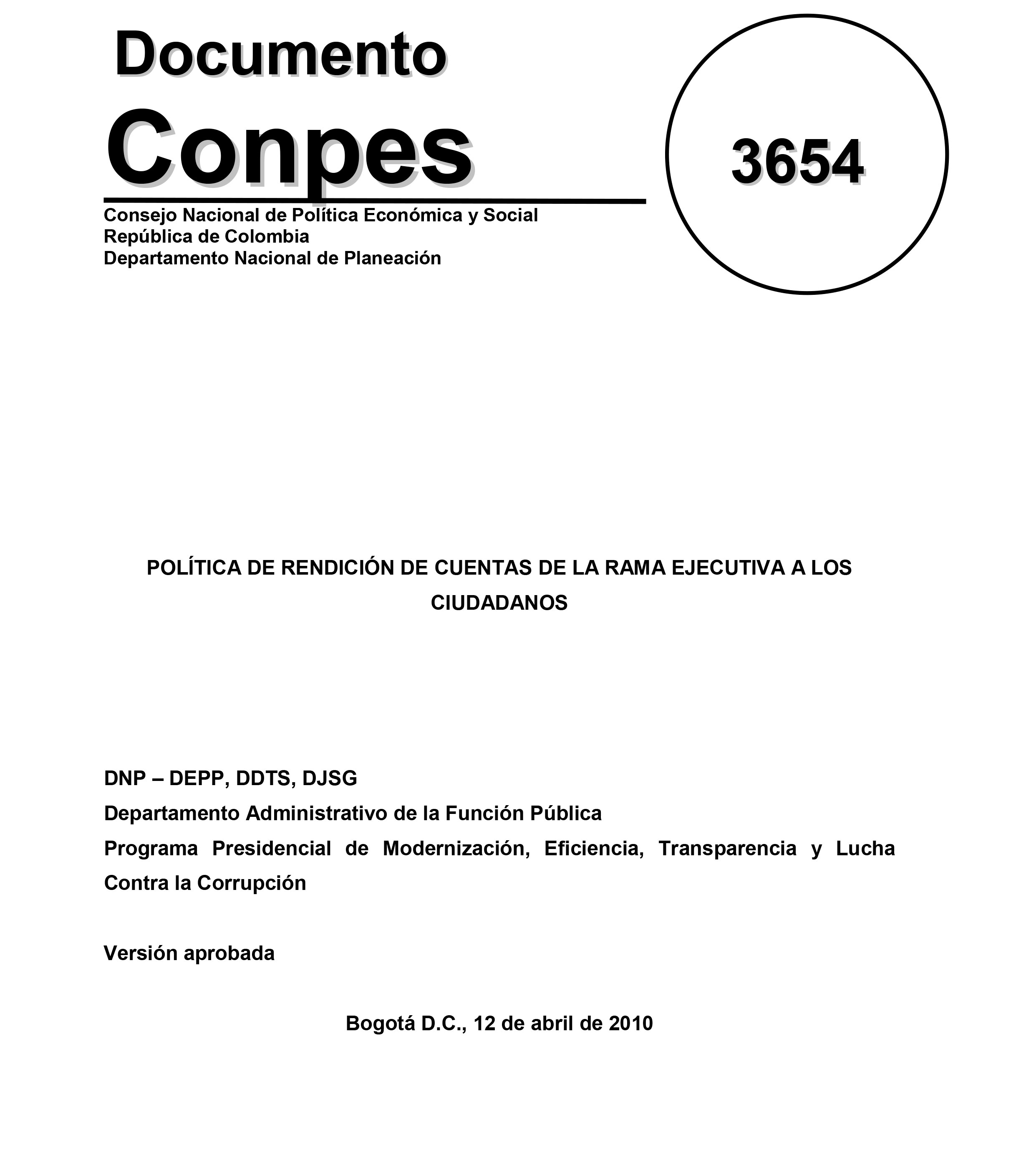 Documento CONPES 3654