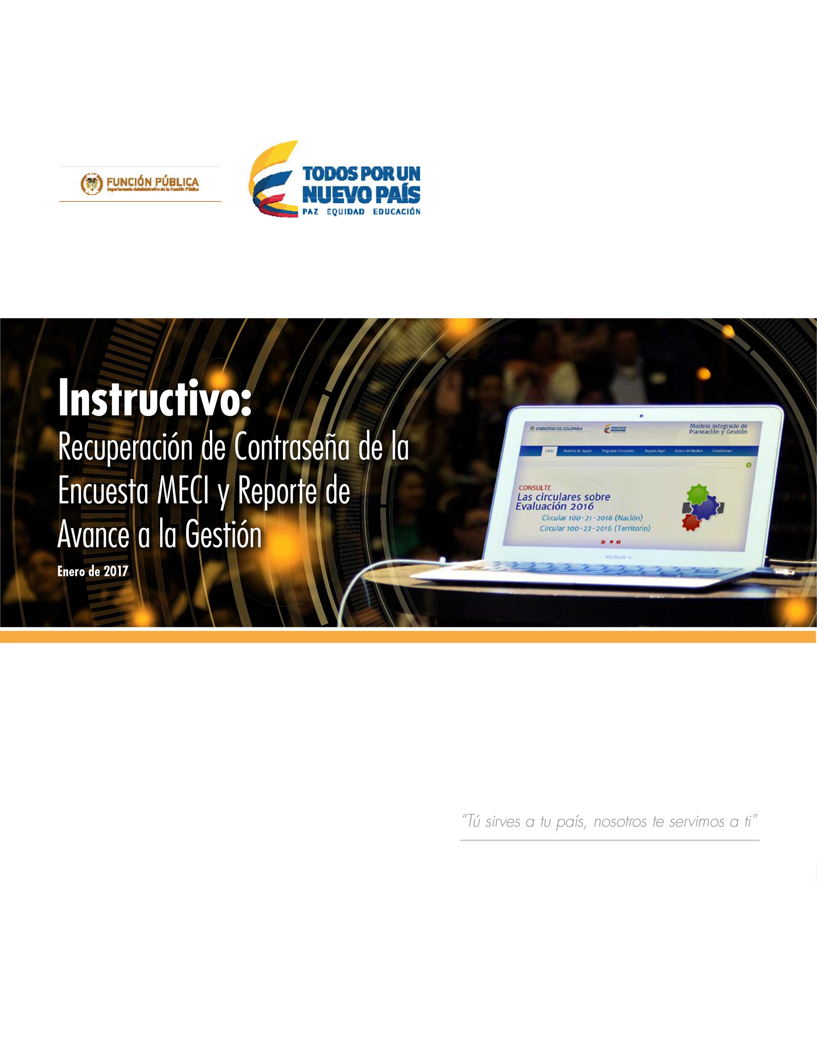 Instructivo: Recuperación de Contraseña de la Encuesta MECI y Reporte de Avance a la Gestión